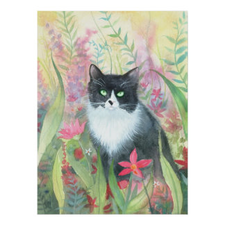 Tuxedo Cat Watercolor Poster