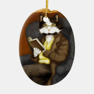 Tuxedo Cat Wearing Clothes and Reading Book Ceramic Ornament