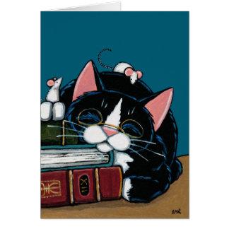 Tuxedo Cat & White Mice Bedtime Story Illustration Card