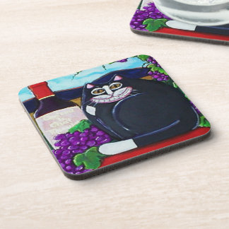 Tuxedo Cat , Wine, and Grapes Coasters