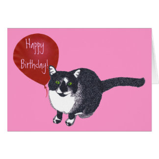 Tuxedo Cat with Balloon Happy Birthday Cards