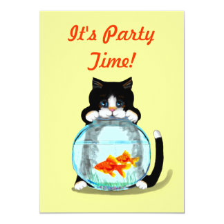 Tuxedo Cat with Fish Invitation