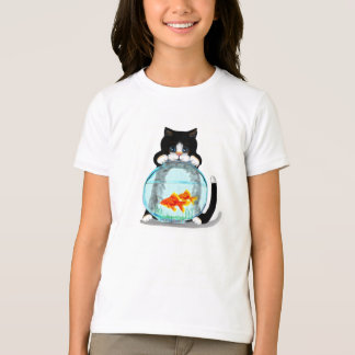 Tuxedo Cat with Fish T-Shirt