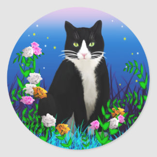 Tuxedo Cat with Flowers Stickers