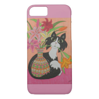 Tuxedo Cat with Lilies iPhone 7 Case