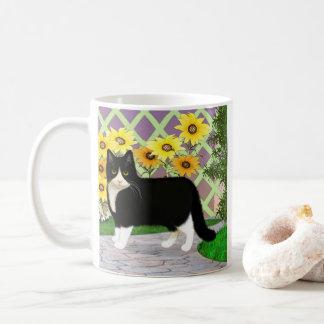 Tuxedo Cat with Sun Flowers Coffee Mug