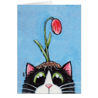Tuxedo Cat with Tulip on Head - Cat Art Card