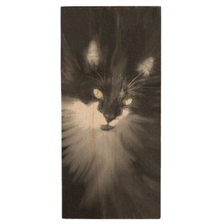 Tuxedo Cat Wood USB 2.0 Flash Drive
