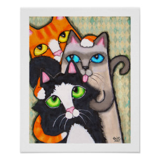 Tuxedo Cat's Bath Poster