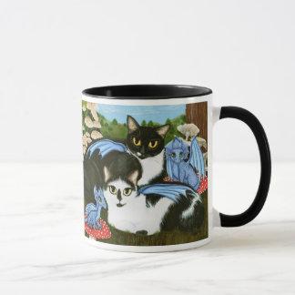 Tuxedo Cats Blue Dragons Mushrooms Fantasy Art Mug
