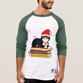 Tuxedo Christmas Cat with Bell and Books T-Shirt