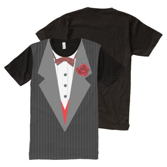 Tuxedo, Grey Stripe & Lapels, Red Tartan Bow