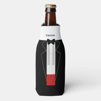 Tuxedo Groom Custom Bottle Can Cooler