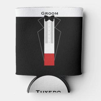 Tuxedo Groom Wedding Favor Can Cooler