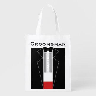 Tuxedo Groomsman Reusable Bag Market Tote