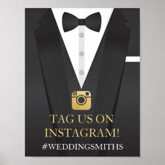 Tuxedo Instagram Bow Tie Sign Wedding Reception
