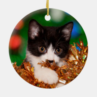 Tuxedo kitten Christmas Ceramic Ornament