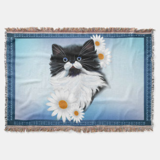 Tuxedo Kitten Face Throw Blanket