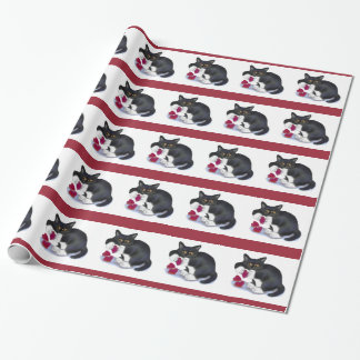Tuxedo Kitten has Three Valentine Heart Catnip Toy Wrapping Paper