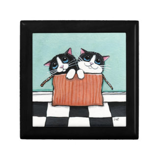 Tuxedo Kittens in a Cardboard Box Illustration Jewelry Box