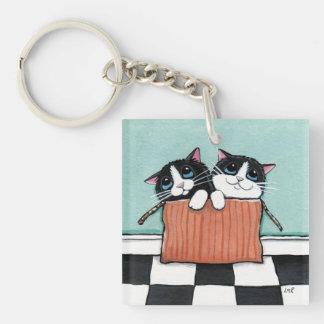 Tuxedo Kittens in a Cardboard Box Keychain