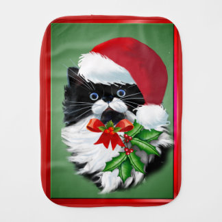 Tuxedo Kitty at Christmas Burp Cloth