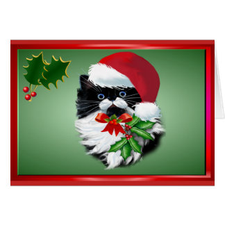 Tuxedo Kitty at Christmas Card