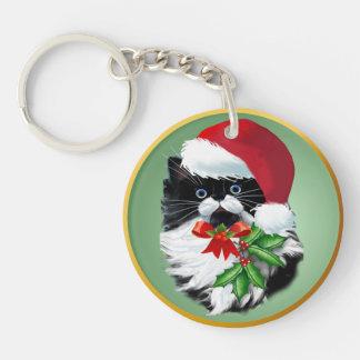 Tuxedo Kitty at Christmas Keychain