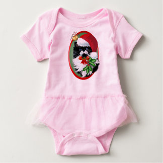 Tuxedo Kitty at Christmas Oval Baby Bodysuit