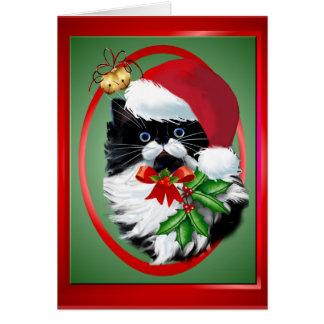 Tuxedo Kitty at Christmas Oval Card