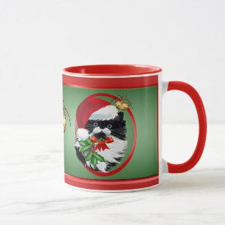 Tuxedo Kitty at Christmas Oval Mug