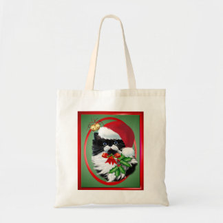 Tuxedo Kitty at Christmas Oval Tote Bag