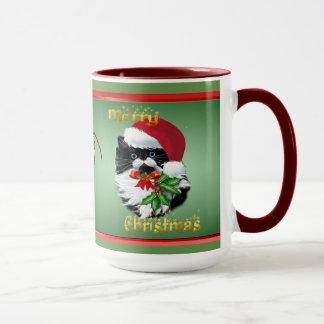Tuxedo Kitty at Christmas-text Mug