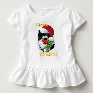 Tuxedo Kitty at Christmas-text Toddler T-shirt