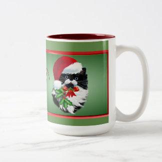 Tuxedo Kitty at Christmas Two-Tone Coffee Mug