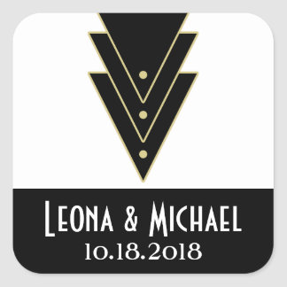 Tuxedo Modern Art Deco Wedding Square Sticker