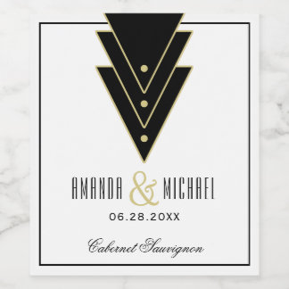 Tuxedo Modern Art Deco Wedding Wine Label
