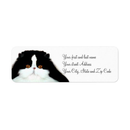 Tuxedo persian cat face return address label