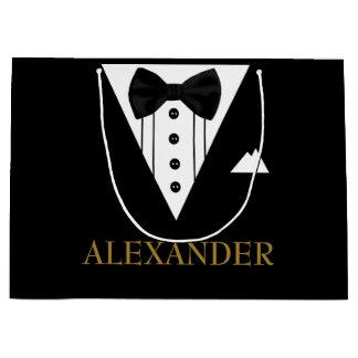 Tuxedo Personalized Groomsman  Wedding Thank You Large Gift Bag