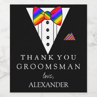 Tuxedo Rainbow Bow Tie Thank You Groomsman Wine Label