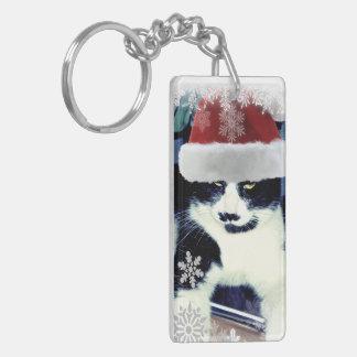 Tuxedo Santa Cat Christmas Keychain