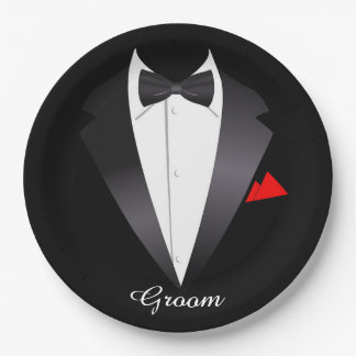 Tuxedo Shirt/Groom - Paper Plates