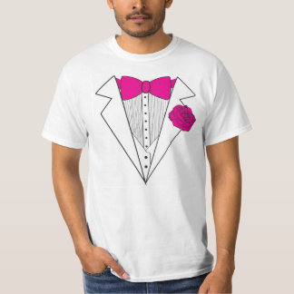 Tuxedo style with Pink Bowtie and Pink Rose T-Shirt