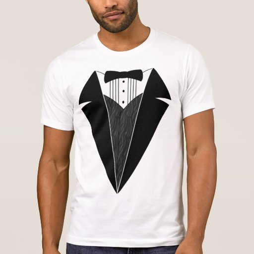 Tuxedo T-Shirt, White with Black Bowtie