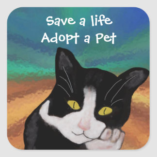Tuxedo the Cat Pet Adoption Stickers