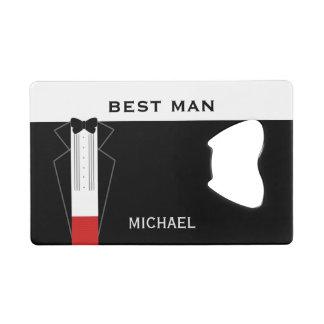 Tuxedo Wedding Best Man Personalized Favor Credit Card Bottle Opener