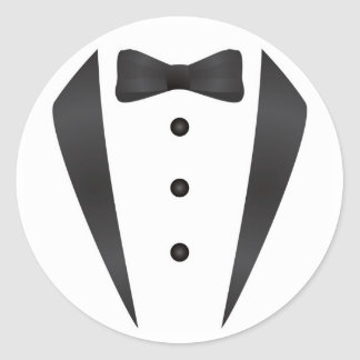 Tuxedo wedding gifts and props for groom round sticker
