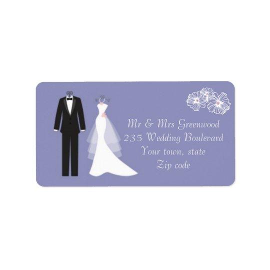 Tuxedo, wedding gown on purple Address Label
