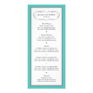 Tuxedo Wedding Menu in Turquoise and Gray
