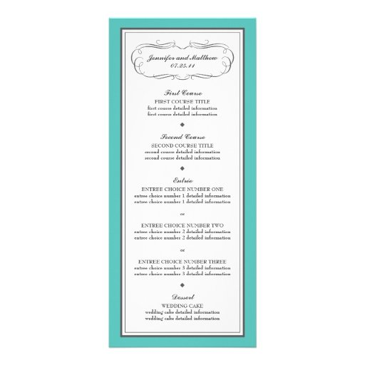 Tuxedo Wedding Menu in Turquoise and Gray Rack Cards